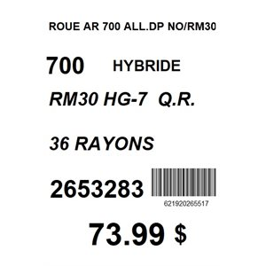 ROUE AR 700 ALL.DP NO / RM30 HG7 36R